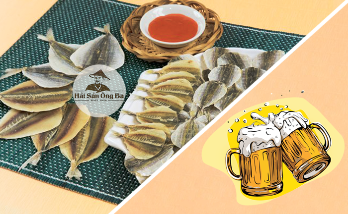 bia, cá chỉ vàng, món ăn, đĩa tương ớt gia vị,