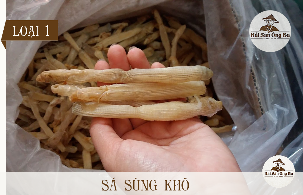 Sá sùng khô - Túi 1kg bán tại cửa hàng Hải Sản Ông Ba, thương hiệu hải sản khô uy tín.